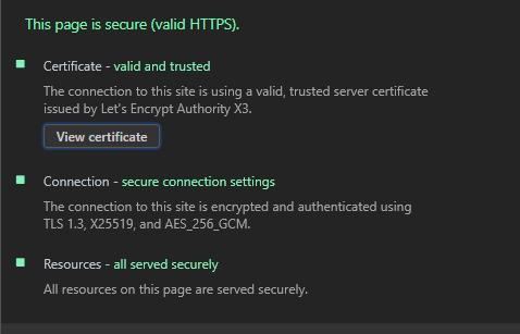 Chrome 中查看到的加密详情(TLS 1.3)